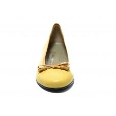 Μπαλαρίνα κίτρινη δερμάτινη