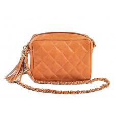 Τσάντα πορτοκαλί δερμάτινη
