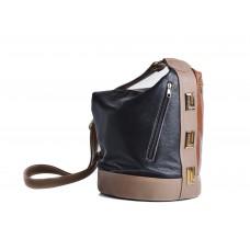 Τσάντα μπεζ-ταμπά-μαύρη δερμάτινη